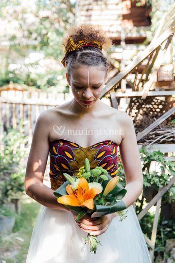 Robe de mariée ethnique wax