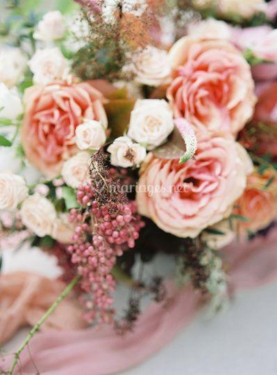 Roses en centre de table