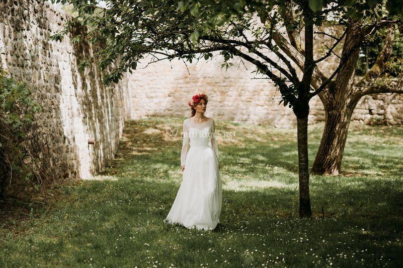 Robe de mariée fluide bohème