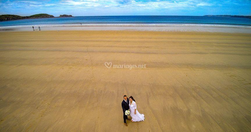 Les mariés vus du ciel !