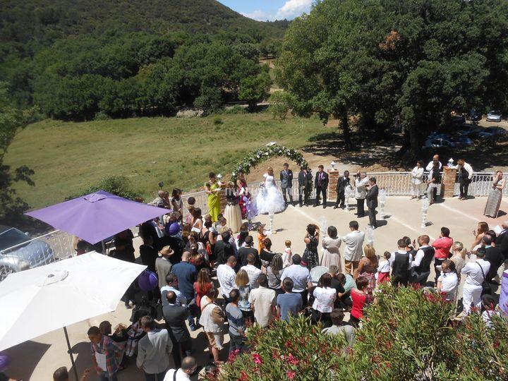 Vue aerienne terrasse mariage
