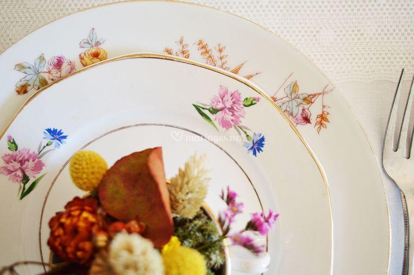 Assiettes fleuries