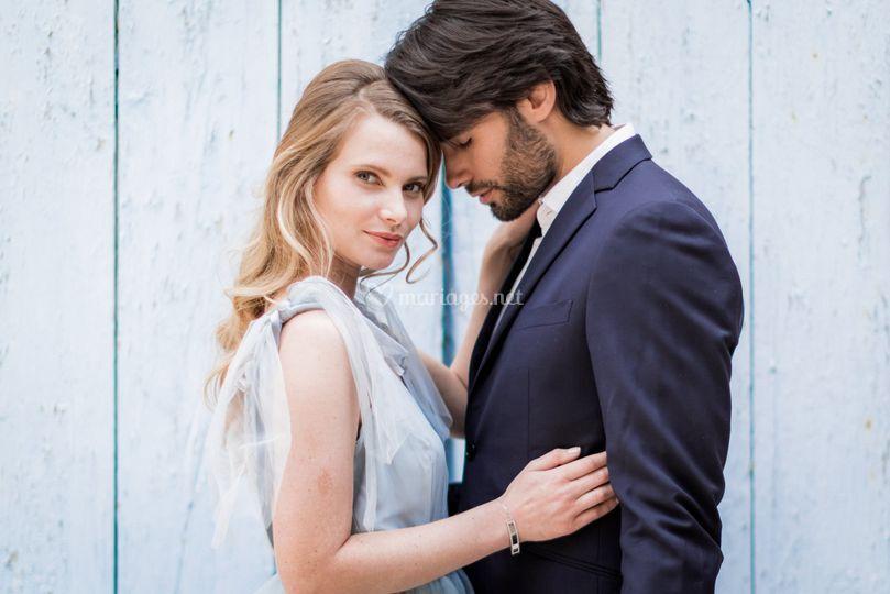 Portraits de mariés en bleu