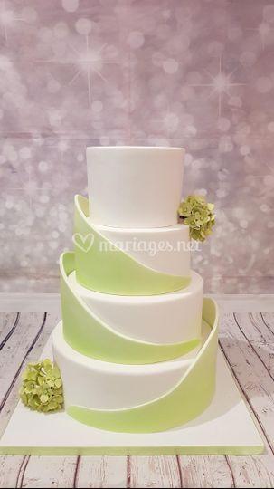 Wedding cake blanc et vert