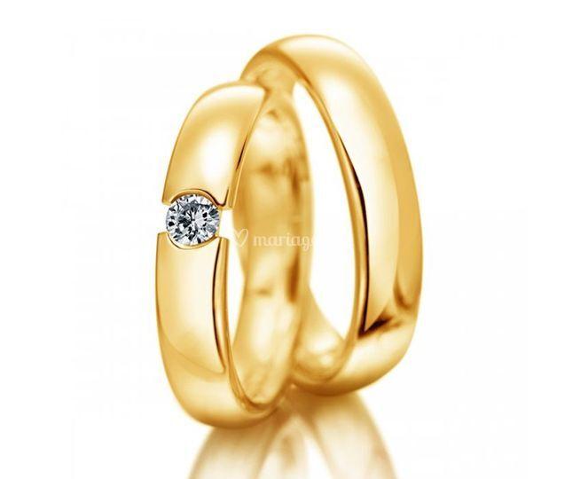 Alliances or jaune et diamant