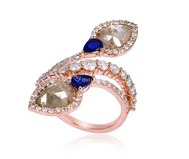 Bague or & diamants rose cut