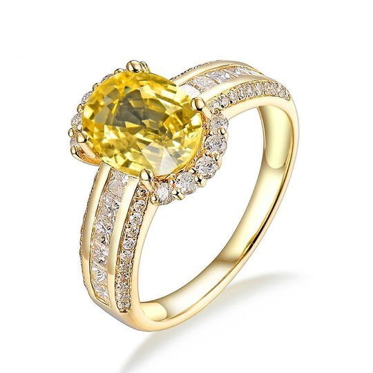 Bague or saphir jaune diamant