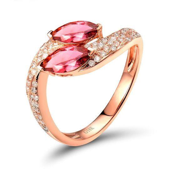 Bague tourmaline et diamant