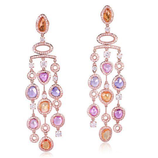Boucles d'oreilles or diamant multi pierres