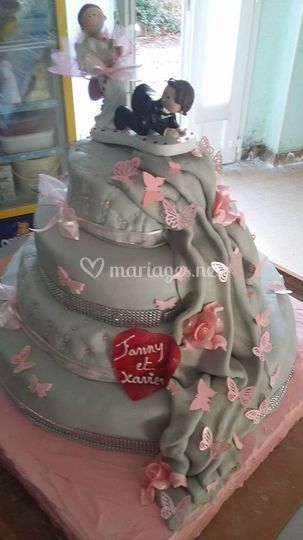 Wedding  cake gris et rose
