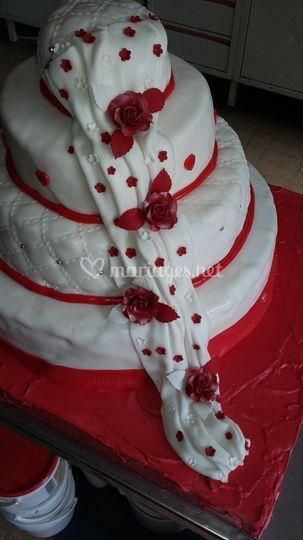 Drapé blanc et rouge 100 per