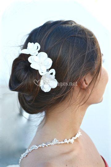 Application de fleurs blanches