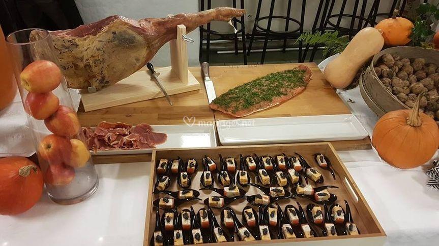 Jambon et saumon gravlaxe