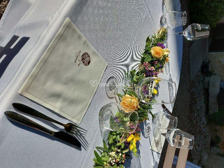 Guirlande deco fleuri de table