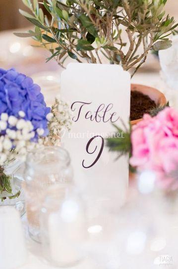 Carte numéro de table