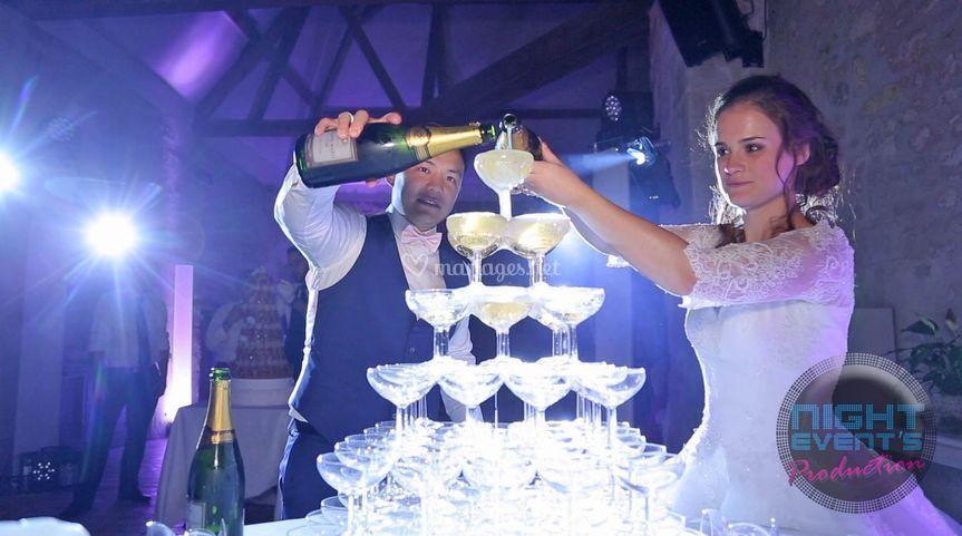 Eclairage cascade de champagne
