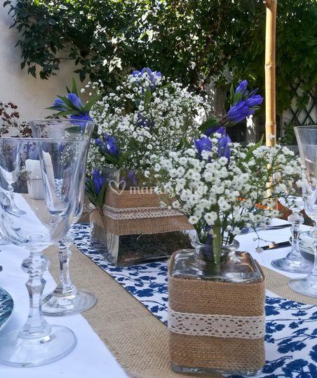 centre de table champ tre chic de mademoiselle loue photo 1. Black Bedroom Furniture Sets. Home Design Ideas