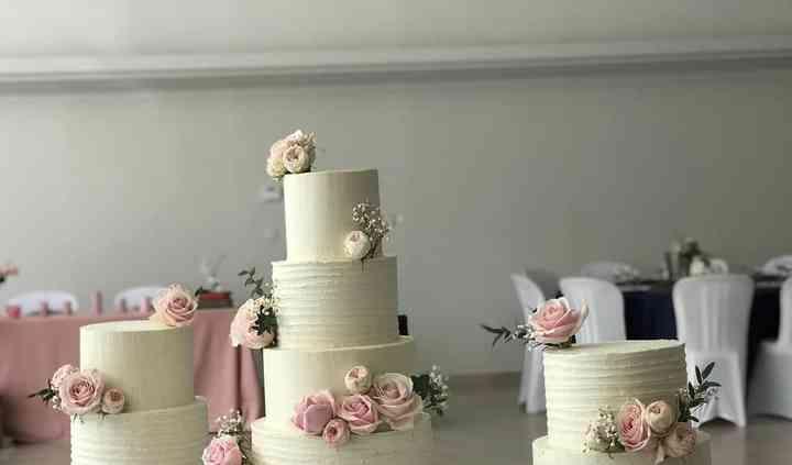 Romantic blush wedding cake