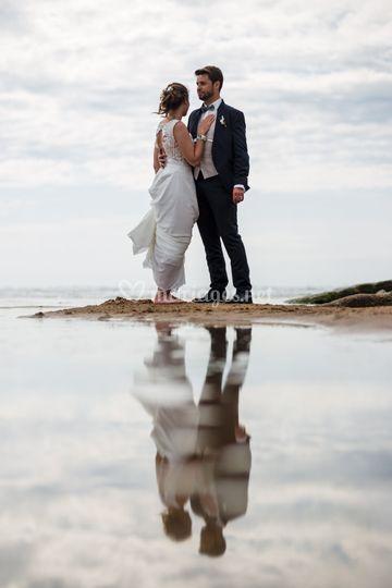 Reflets d'amour sur la plage
