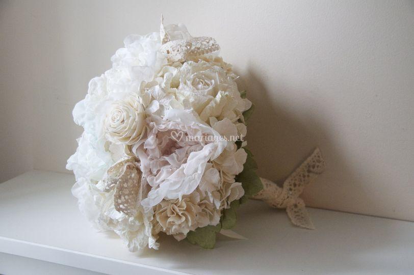 Bouquet de mariée en tissus