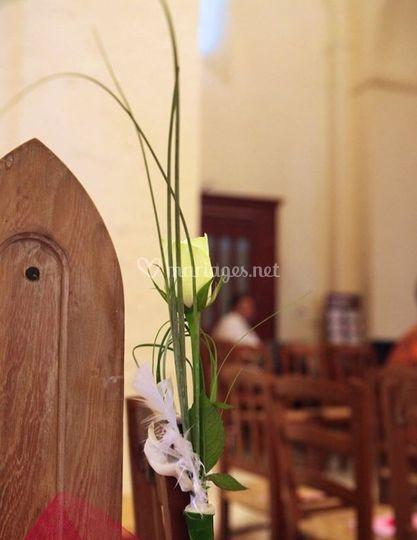Bout de banc dans l'église