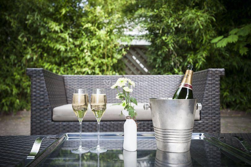 Champagne au jardin