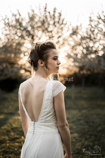 Mariée au coucher de soleil