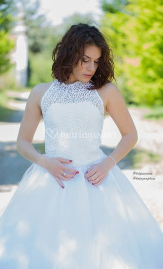 Mariage guipure et tulle
