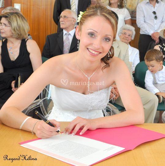 La signature de la mariée