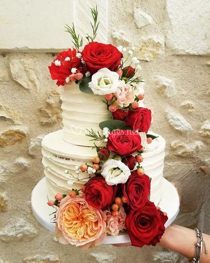 Wedding cake crème fleurie