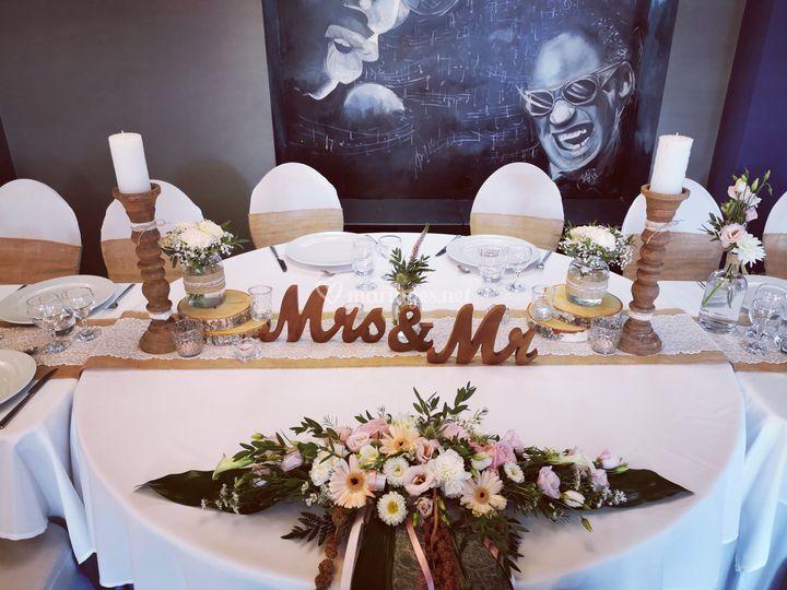 Table des mariés champetre
