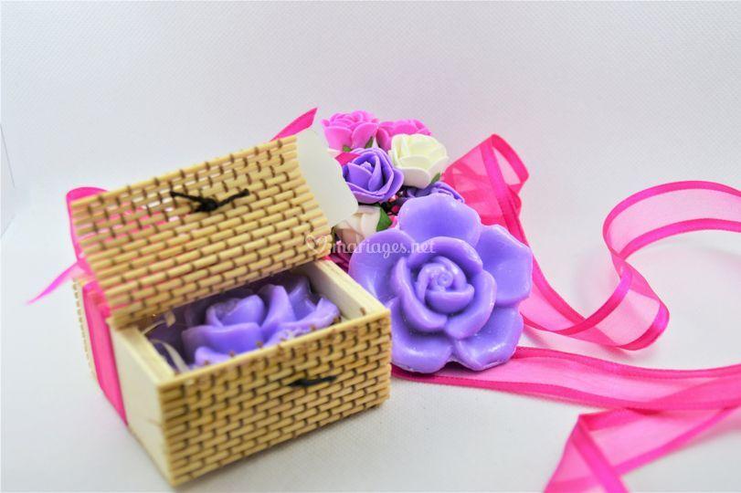 Coffret bambou savon fleur