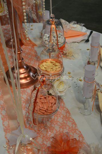 Déco de table mariage saumon