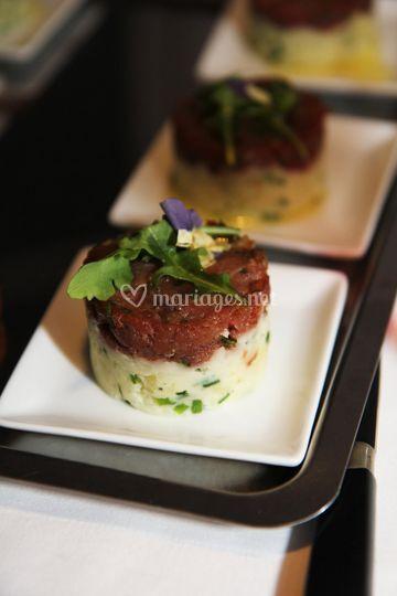 Tartare de bœuf mariné au sel