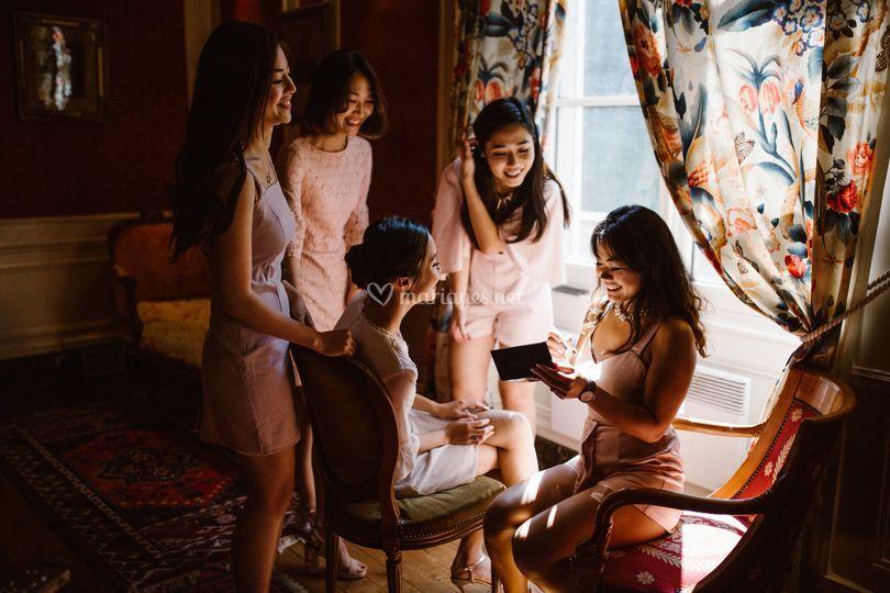 La préparation avec les mariées