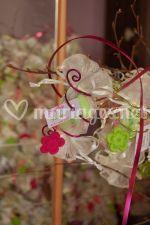 Détail de l'arbre et du bonbon en tulle garni de dragées