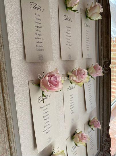 Plan de table tout en rose