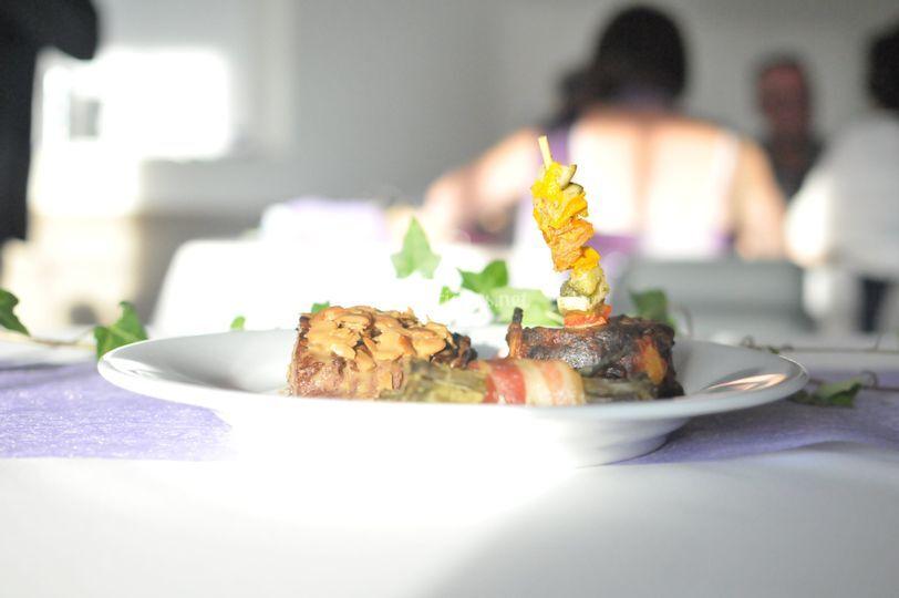 Magret grillé aux amandes