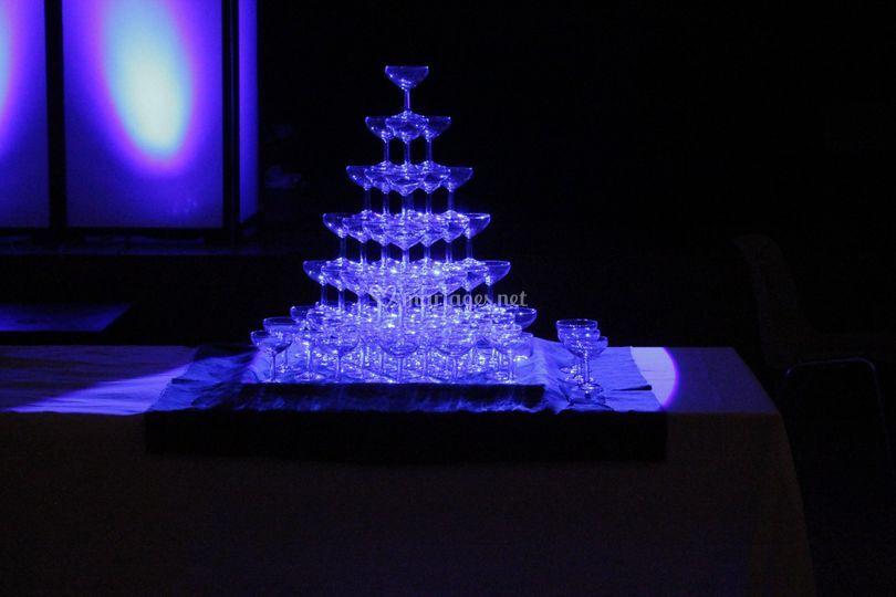 Éclairage cascade champagne