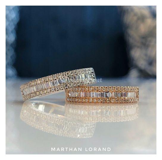 Alliances Diamants baguettes