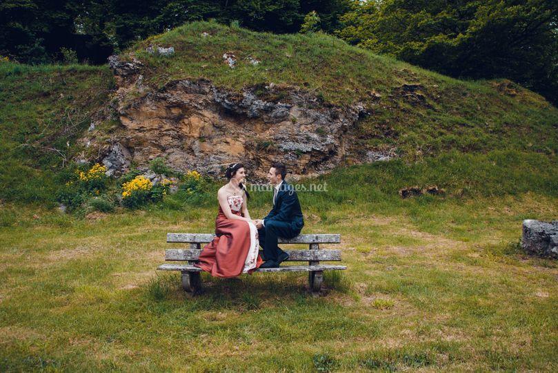 Pose mariés montagne