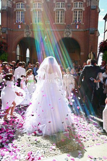 Sortie église mariée