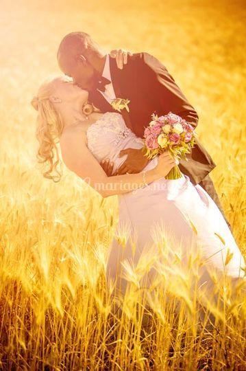 Couple champ de blé