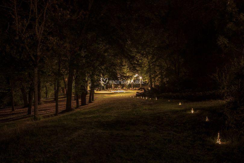 Parc de nuit chemin lumineux
