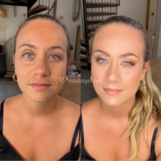 Avant après make up mariée