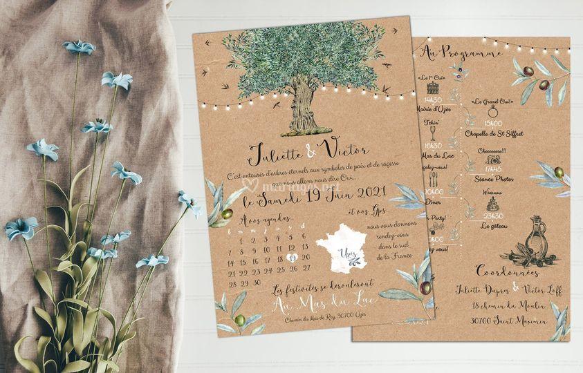 Faire-part Mariage olivier