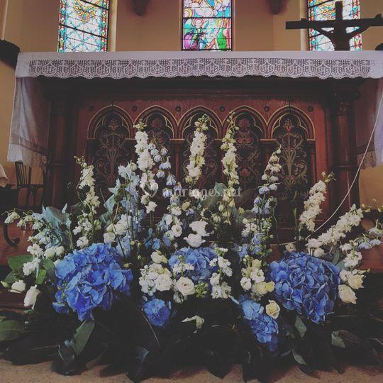 Devant d'autel bleu