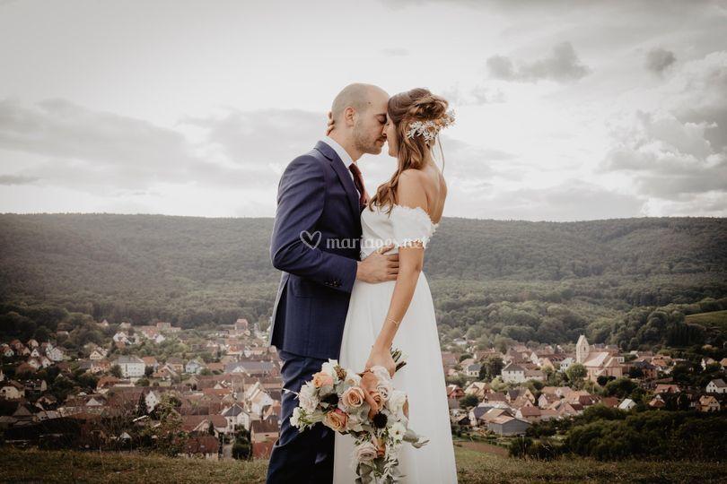 Bouquet de mariée et coiffe