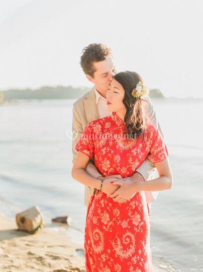 Couple mixte mariage asiatique