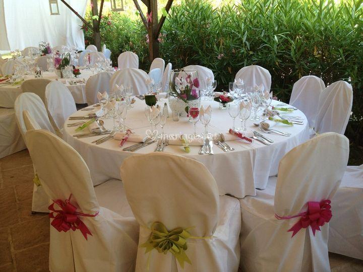 Table ronde décorée